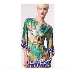 Cabi Poetry Silk Tunic Floral w Belt